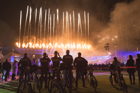 october 31: MILAN, ITALY - OCTOBER 31: People take part in Expo 2015 closing ceremony , universal exposition on the theme of food on OCTOBER 31, 2015 in Milan. Editorial