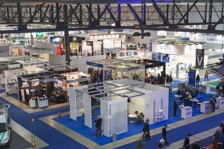 MILAN, ITALY - NOVEMBER 5: Top view of people and booths at Sicurezza, leading international event in the sector of security on NOVEMBER 5, 2015 in Milan.