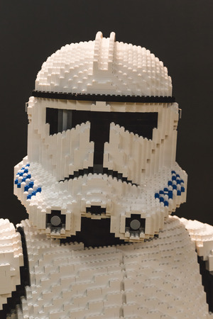 stormtrooper: MILAN, ITALY - NOVEMBER 20: Lego stormtrooper at G come giocare, trade fair dedicated to games, toys and children on NOVEMBER 20, 2015 in Milan. Editorial
