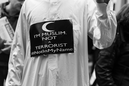 terrorism crisis: MILAN, ITALY - NOVEMBER 21: The Muslim Community demonstrates against every kind of terrorism in the name of Islamic religion on NOVEMBER 21, 2015 in Milan.