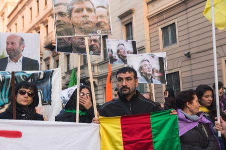 demonstrators: MILAN, ITALY - DECEMBER 12: Kurdish demonstrators protest against Turkish government on DECEMBER 12, 2015 in Milan. Editorial