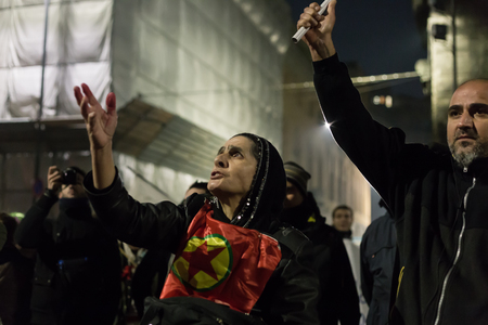 occupy movement: MILAN, ITALY - DECEMBER 12: Kurdish demonstrators protest in front of the Turkish Consulate on DECEMBER 12, 2015 in Milan.