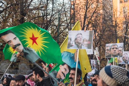 demonstrators: MILAN, ITALY - DECEMBER 12: Kurdish demonstrators protest against Turkish government on DECEMBER 12, 2015 in Milan. Editorial
