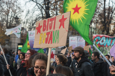 occupy movement: MILAN, ITALY - DECEMBER 12: Kurdish demonstrators protest against Turkish government on DECEMBER 12, 2015 in Milan. Editorial