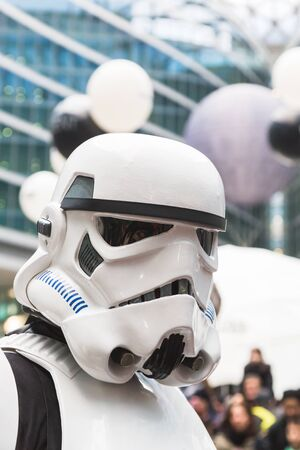 trilogy: MILAN, ITALY - MARCH 5: People of 501st Legion, official costuming organization, take part in the Star Wars Parade wearing perfectly accurate costumes on MARCH 5, 2016 in Milan.