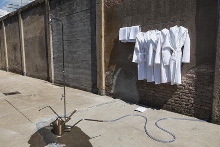 towelling: MILAN, ITALY - APRIL 12: Installation for Fuorisalone at Ventura Lambrate space, location of important events during Milan Design Week on APRIL 12, 2016 in Milan.