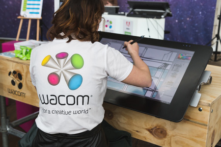 wacom: MILAN, ITALY - APRIL 12: Wacom digital artist works for Fuorisalone at Ventura Lambrate space, location of important events during Milan Design Week on APRIL 12, 2016 in Milan.