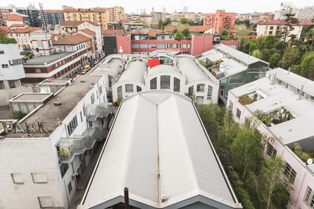 MILAN, ITALY - APRIL 12: Top view of one of the industrial buildings hosting Fuorisalone at Ventura Lambrate space, location of important events during Milan Design Week on APRIL 12, 2016 in Milan. Editorial