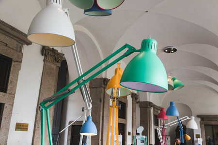 MILAN, ITALY - APRIL 15: Lamps on display at Fuorisalone, set of events distributed in different areas of the town during Milan Design Week on APRIL 15, 2016 in Milan.