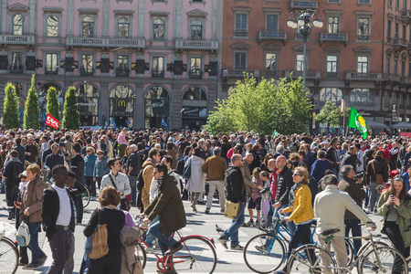 regime: MILAN, ITALY - APRIL 25: People take part in the Liberation Day parade, end of Mussolinis regime and Nazi occupation in 1945 on APRIL 25, 2016 in Milan. Editorial