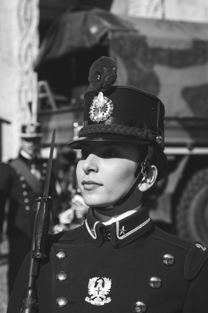 an oath: MILAN, ITALY - MARCH 19: Young cadet woman of Teulie Military School takes part in the traditional oath ceremony on MARCH 19, 2016 in Milan. Editorial