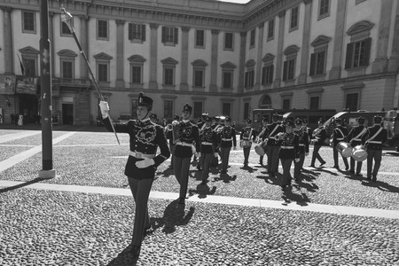 an oath: MILAN, ITALY - MARCH 19: Teulie Military School cadets take part in the traditional oath ceremony on MARCH 19, 2016 in Milan.