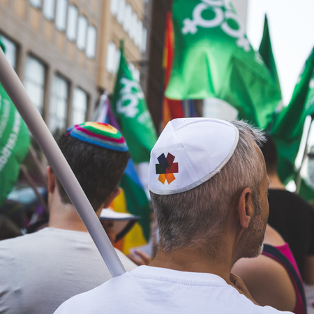 jewish people: MILAN, ITALY - JUNE 25: Jewish people at Pride parade in Milan JUNE 25, 2016. Thousands of people march in the city streets for the annual Pride parade, claiming equality and legal rights.