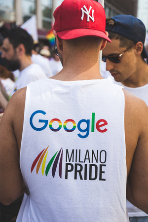 bisexual women: MILAN, ITALY - JUNE 25: People at Pride parade in Milan JUNE 25, 2016. Thousands of people march in the city streets for the annual Pride parade, claiming equality and legal rights.