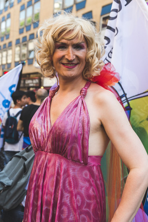 transexual: MILAN, ITALY - JUNE 25: People at Pride parade in Milan JUNE 25, 2016. Thousands of people march in the city streets for the annual Pride parade, claiming equality and legal rights.