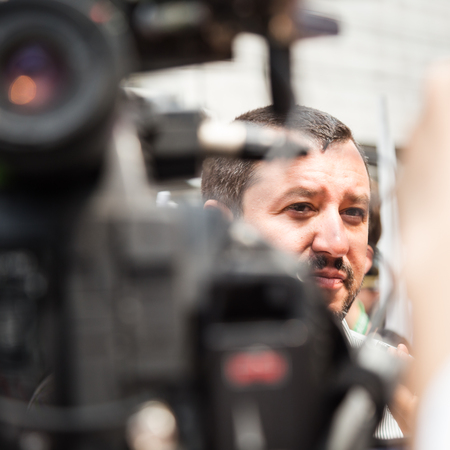 lega: MILAN, ITALY - JULY 22, 2016: The secretary of Lega Nord party Matteo Salvini protests in front of the Turkish consulate against President Erdogan and his policy.