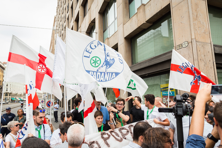 lega: MILAN, ITALY - JULY 22, 2016: People of Lega Nord party protest in front of the Turkish consulate against president Erdogan and his policy.
