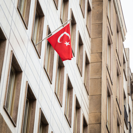 consulate: Turkish flag outside the Consulate of Turkey in Milan, Italy