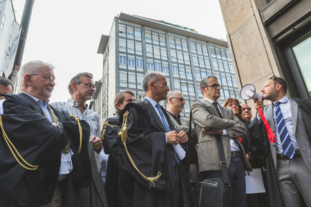 MILAN, ITALY - JULY 27, 2016: Italian lawyers demonstrate against president Erdogan in support of their Turkish colleagues.