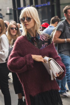 linda: MILAN, ITALY - SEPTEMBER 23, 2016: Linda Tol poses outside Marco De Vincenzo fashion show building during Milan Women Fashion Week SS17.