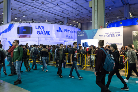 MILAN, ITALY - OCTOBER 14: People visit Games Week 2016, event dedicated to video games and electronic entertainment on OCTOBER 14, 2016 in Milan.
