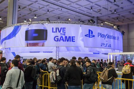 gamers: MILAN, ITALY - OCTOBER 14: People visit Games Week 2016, event dedicated to video games and electronic entertainment on OCTOBER 14, 2016 in Milan.