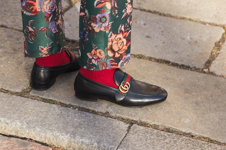MILAN, ITALY - JANUARY 14: Detail of shoes outside Antonio Marras fashion show building during Milan Men's Fashion Week on JANUARY 14, 2017 in Milan.
