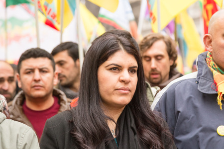 activism: MILAN, ITALY - FEBRUARY 2, 2017: Dilek Ocalan marches with demonstrators protesting against the Turkish government and demanding the immediate release of their lpolitical leader Ocalan.