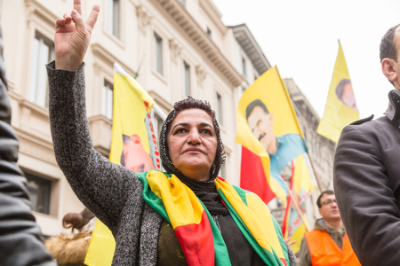 MILAN, ITALY - FEBRUARY 2, 2017: Kurdish demonstrators protest against the Turkish government and demand the immediate release of their lpolitical leader Ocalan. Editorial