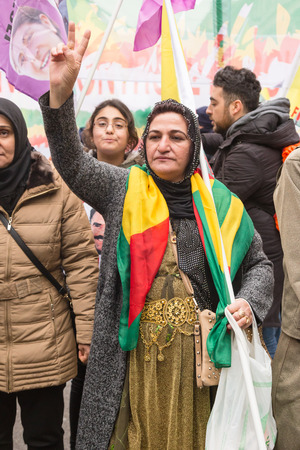 occupy movement: MILAN, ITALY - FEBRUARY 2, 2017: Kurdish demonstrators protest against the Turkish government and demand the immediate release of their lpolitical leader Ocalan. Editorial