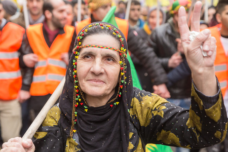 activism: MILAN, ITALY - FEBRUARY 2, 2017: Kurdish demonstrators protest against the Turkish government and demand the immediate release of their lpolitical leader Ocalan. Editorial