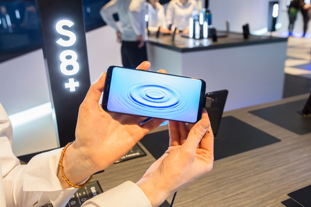samsung: MILAN, ITALY - APRIL 7: The new Samsung S8 on display at Fuorisalone, set of events distributed in different areas of the town during Milan Design Week on APRIL 7, 2017 in Milan. Editorial