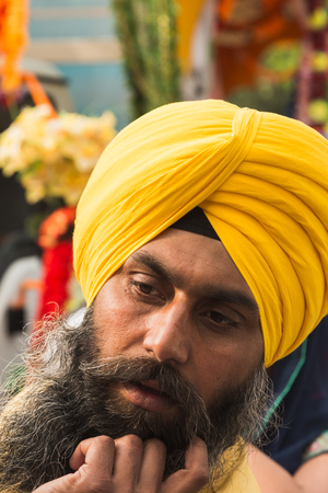 BRESCIA, ITALY - APRIL 15, 2017: Sikh man takes part in the annual Vaisakhi parade to celebrate the first harvesting of the year and the creation of Khalsa