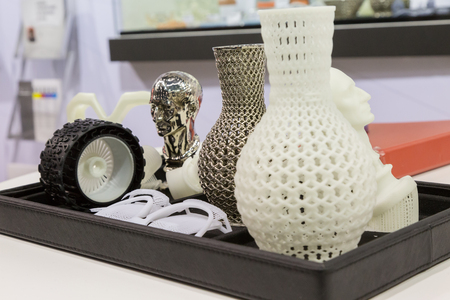MILAN, ITALY - APRIL 21, 2017: 3d printed objects on display at Technology Hub, international event for innovative and futuristic technologies serving business.