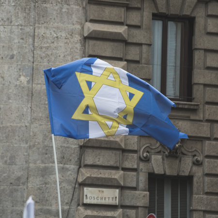 zionism: MILAN, ITALY - APRIL 25: People of the Jewish Brigade take part in the Liberation Day parade, end of Mussolinis regime and Nazi occupation in 1945 on APRIL 25, 2017 in Milan. Editorial