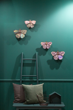 MILAN, ITALY - JANUARY 26: Butterflies on display at HOMI, home international show and point of reference for all those in the sector of interior design on JANUARY 26, 2018 in Milan.