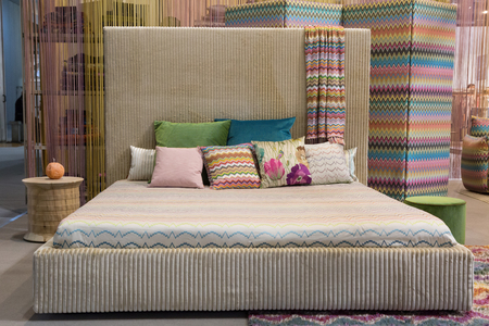 MILAN, ITALY - JANUARY 26: Missoni double bed on display at HOMI, home international show and point of reference for all those in the sector of interior design on JANUARY 26, 2018 in Milan.
