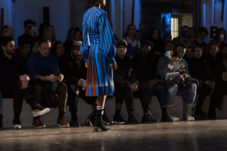 MILAN, ITALY - FEBRUARY 25: Gorgeous model walks the runway at Stella Jean show during Milan Women's Fashion Week on FEBRUARY 25, 2018 in Milan.