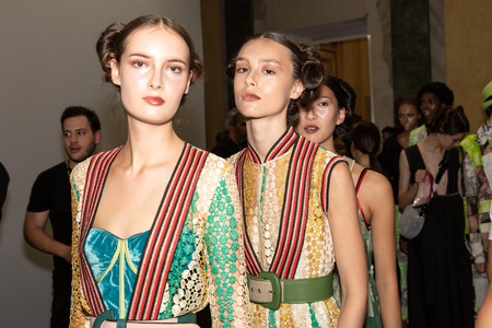 MILAN, ITALY - SEPTEMBER 23: Beautiful models pose in the backstage just before Francesca Liberatore show during Milan Womens Fashion Week on SEPTEMBER 23, 2018 in Milan.