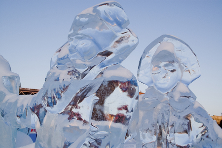 ice sculpture: ice sculpture of Santa Claus in the city park. Stock Photo