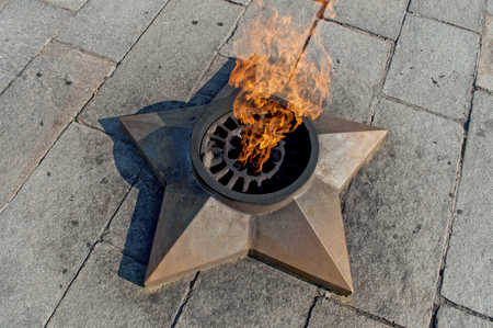 combustible: The eternal flame in the form of a star in Kolomna summer