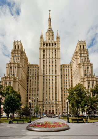totalitarianism: Krasnopresnenskaya view skyscraper with the main facade in the sun.