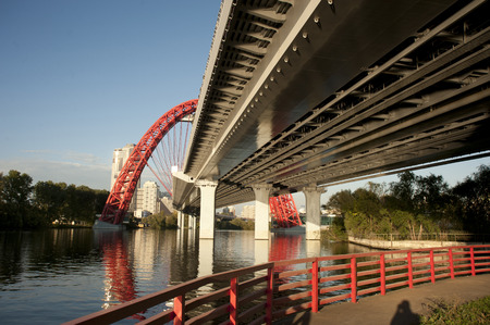 marshal: the lower part of the picturesque bridge on the avenue Marshal Zhukov. Stock Photo