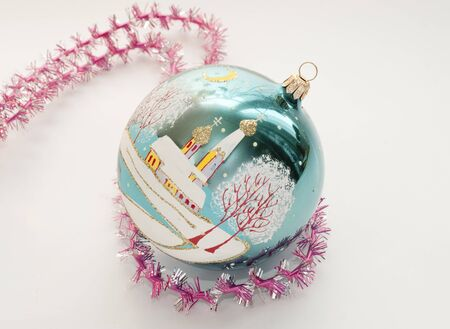 the orthodox church: Christmas toy in the shape of a sphere with the image of the Orthodox Church Stock Photo
