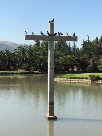 christian religion: christian holy cross at a cemetery in santiago,chile Stock Photo