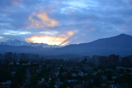 andes: sunset at mount andes in santiago chile