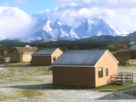 Landcape of snow and hostels in Patagonia Chile Editorial