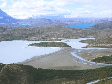 Landscape of lake, mountains and glaciers in Patagonia Chile