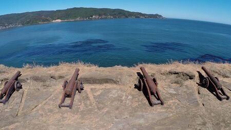 World war cannon display at a fort in Chile