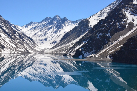 Landscape of mountain snow and lagoon in Santiago, Chile Stock Photo